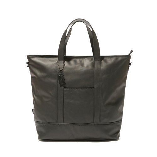 COATED CANVAS TOTE BAG - BLACK
