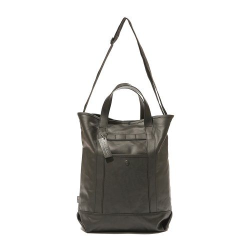 COATED CANVAS 2WAY TOTE BAG - BLACK