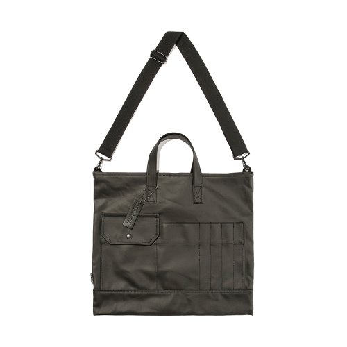 COATED CANVAS TOTE&CROSS BAG - BLACK