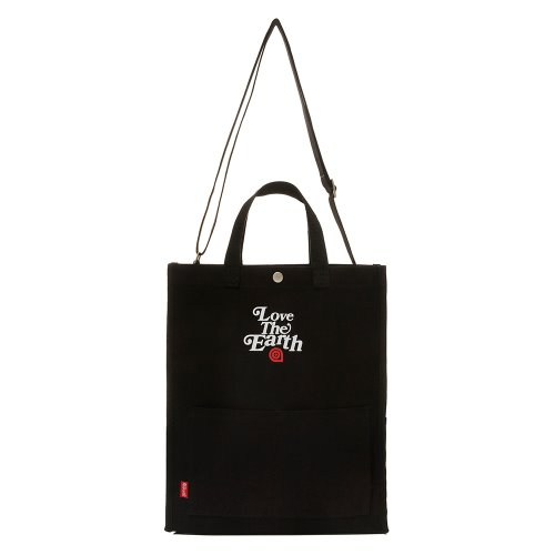 CANVAS LTE TOTE&CROSS BAG - BLACK
